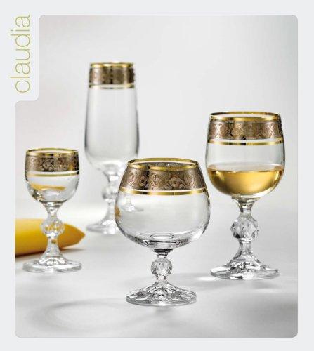 Bohemia Cristal Set 6 copas de Cognac Claudia con el grabado de plata, con el borde del oro, 230 ml