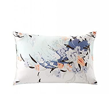 ZIMASILK 100% Mulberry Silk Pillowcase for Hair and Skin Health, Both Side Silk,Floral Print, 1pc (King 20''x36'', pattern7)