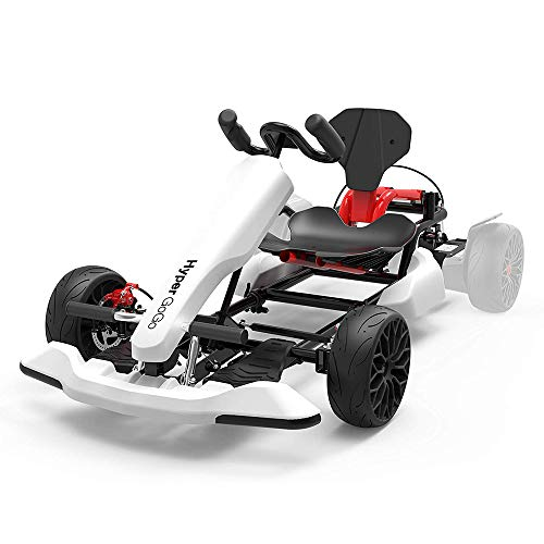 HYPER GOGO Go Kart Kit for Kids and Adults, Hoverboard Attachment - Compatible with All Hover Boards Like 4.5' 6.5' 8.5' hoverboards, (only Go-Kart), White
