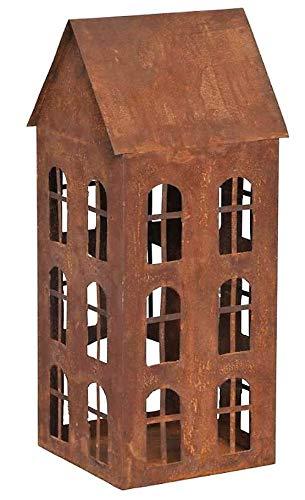 Rostalgie Edelrost Windlicht Haus mit Fenstern 46x18cm, inkl. Herz 8x6cm Garten Deko Laterne Beleuchtung