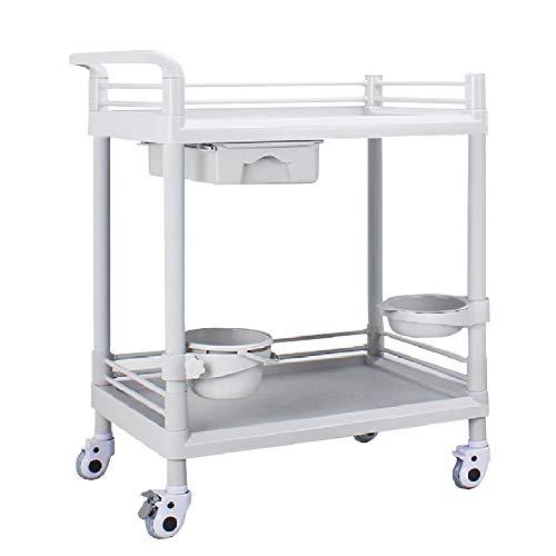 Chariot de Salon YXX Chariot à Outils à Instrument médical d'hôpital avec des tiroirs d'ABS, Chariots de Service de Stockage de Coiffure de Salons de Station Thermale pour Le Salon de beauté, Blanc