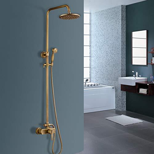 Solepearl Duscharmatur Set, Antikmessing 2-Wege-Badewannenmischer Set mit Regendusche und Handbrause, Wandbrause Duschsystem einstellbar Brausemischer