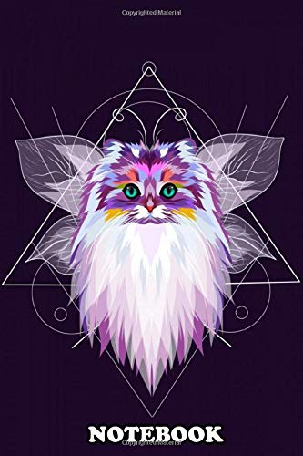 Notebook: Colorful Cat Head Icon With Geometric , Journal for Writing, College Ruled Size 6