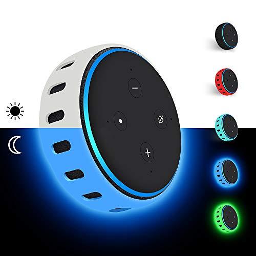 Hydream Custodia in Silicone per Amazon Echo Dot 3a Generazione - Altoparlante Intelligente con Integrazione Alexa, Leggera Antiscivolo Morbido Antiurto Supporto Protettivo Cover (Blu Fluorescente)