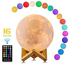 Moon lamp with the diameter is 4.8 INCH, made with 3D printing technology, realistic full moon shape, the surface of the moon lamp is very close to the lunar moon, novelty and charming Moon lamp with 16 color RGB, and the 16 colors can flash or fade ...