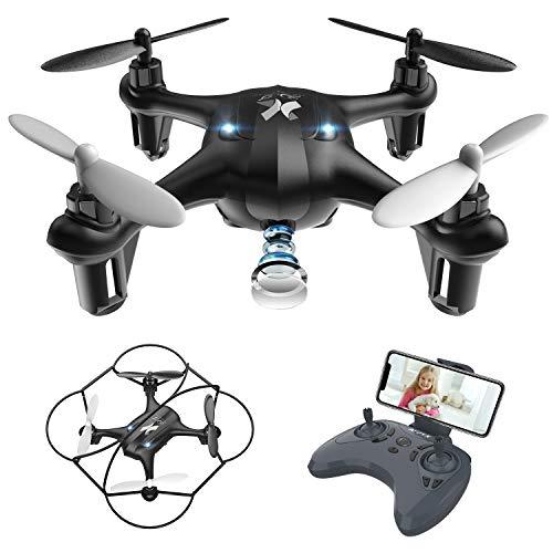 Giocattoli per Bambini Mini Drone con Telecamera FPV WiFi Trasmissione G-sensore AT-96 RC Quadcopter Regalo Un Pulsante di Decollo  Atterraggio ,modalità Senza Testa Protezioni 360° (Black)