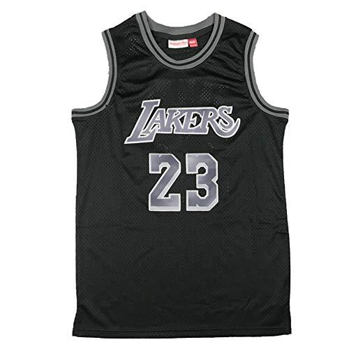 CLKJ # 23 Lebron James Basketball Jerseys, Lakers Ropa Deportiva Transpirable de Secado rápido para Hombres, Chaleco de Entrenamiento de Moda de Gran tamaño para jóvenes. Black A-S