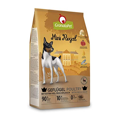 GranataPet Mini Royal Geflügel, Trockenfutter für Hunde, Hundefutter ohne Getreide & ohne Zuckerzusatz, Alleinfuttermittel für ausgewachsene Hunde, 1 kg