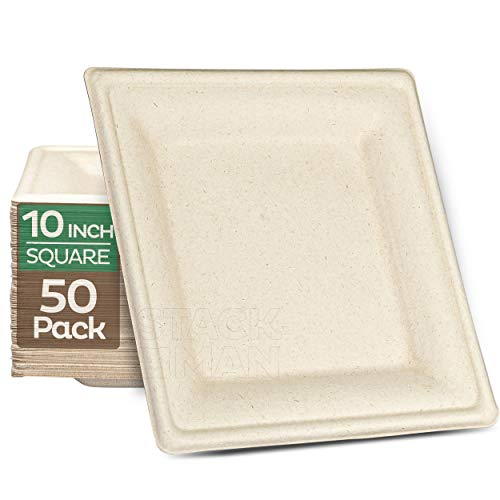 100% Compostable Square Paper Plates [10 inch - 50-Pack] Elegant Disposable Dinner Plates Heavy-Duty Quality, Natural Bagasse Unbleached Eco-Friendly Made of Sugar Cane Fibers, 10' Biodegradable Plate