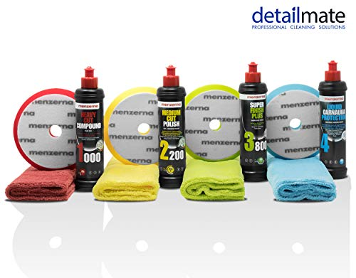 detailmate Auto Politur Set - Menzerna Autopolitur - Super Heavy Cut Compound HC1000 + Medium Cut 2200 + Super Finish Plus SFP3800 + Liquid Carnauba Wachs + 4 passende Menzerna Pads + 4 Poliertücher