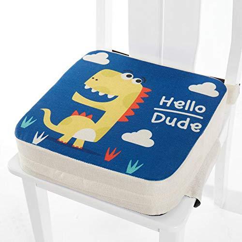 Cuscino Rialzo da Sedia per Bambini, Fansu Comodo e Facile da Pulire Smontabile Regolabile Cuscino Alzasedia per Seggioloni Cuscino Seduta per Sedia da Giardino (dinosauro,40x40x10cm)
