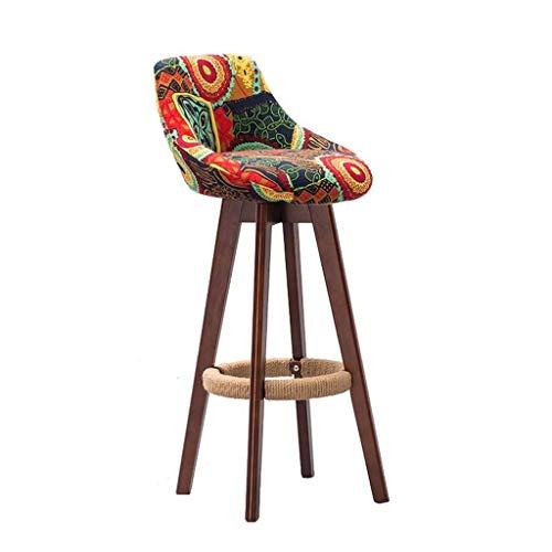 Zfggd Home Bar muebles de color marrón de madera Taburete giratorio 360 ° Taburete alto Taburete desayuno Comedor for el hogar Cocina Barra Silla con respaldo y Comercial Cojín tela de colores Concise