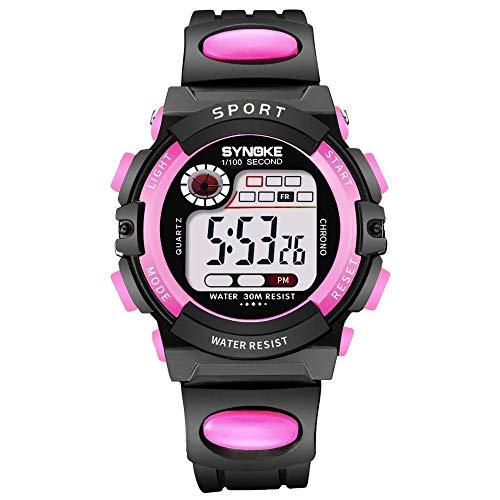 ZTYY Los niños Miran los Relojes de los niños del Deporte LED Digital para Las niñas Muchachos Reloj de Pulsera Relojes electrónicos Correa Suave Impermeable (Color : Pink)