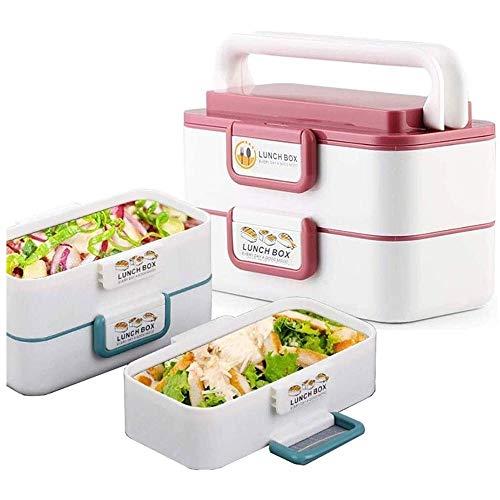 Fiambrera Apilable portátil caja de almuerzo reutilizable, acero inoxidable Alimentación de transporte de contenedores, Bento envase de la caja for la oficina de la escuela picnics al aire libre, Bent