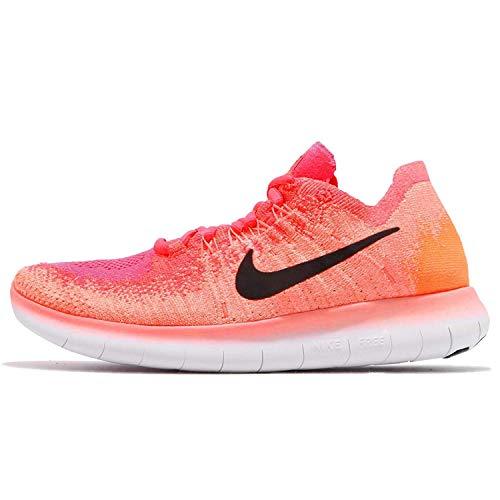 Nike Damen Free RN Flyknit 2017 BRTMNGO/BLKRCRPNK800, Orange - Bright Mango/Racer Pink/Total Orange/Schwarz - Größe: 42 EU