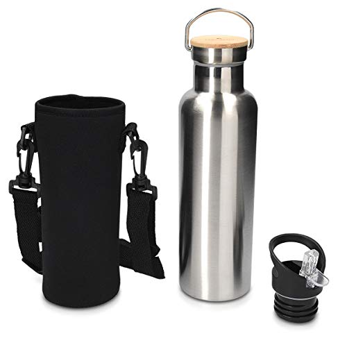 Navaris Bouteille Isotherme en INOX - Gourde 1L en Acier avec Bouchon en Bambou et Bec - pour Boisson Chaude et Froide - Écologique et sans BPA
