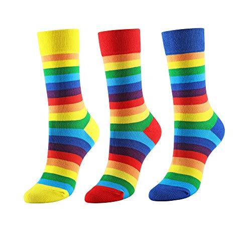 CHIC DIARY Regenbogen Strümpfe Damen Rainbow Bunte Streifen Socken Sportsocken Cheerleader Fasching Kostüm, Größe 35-40