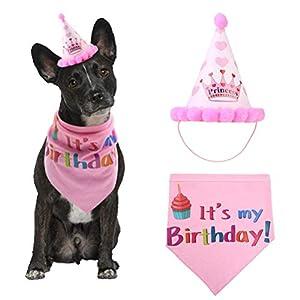 Chien Joyeux anniversaire Bandana écharpes et mignon Chapeau de fête pour filles garçons Écharpe, doux et Adorable Chapeau pour accessoire de fête, Pet Ensemble de décorations de cadeau d'anniversaire