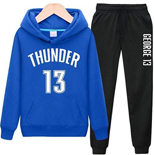 QQT Männer Basketball Sportkleidung, Sportanzüge, Damen Training Anzüge für Fans Nr. 13, Hoodies, Hoodies, Hoodies + Sporthosen Blue-S