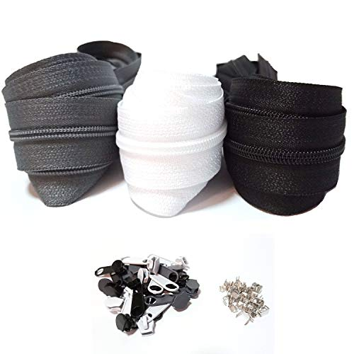 Cremallera continua de nailon de 3 mm y 15 m, 3 colores, con cremallera en espiral, divisible por metros, 2,5 cm de ancho para ropa, bolso, estuche, ropa de cama