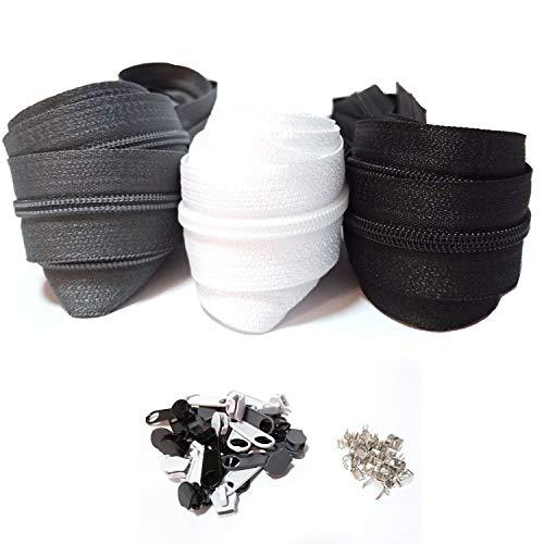 Reisverschluss endloses 3mm 15m Nylon Endlosreißverschluss 3 Farben mit Zipper und Endstück, Reißverschlüsse spiralförmig Meterware teilbar, 2.5cm breit für Kleidung Tasche Mäppchen Bettwäsche