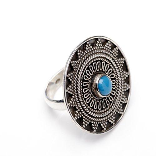 Love your diamonds mujer facetado de plata anillo de piedra turquesa, talla 58
