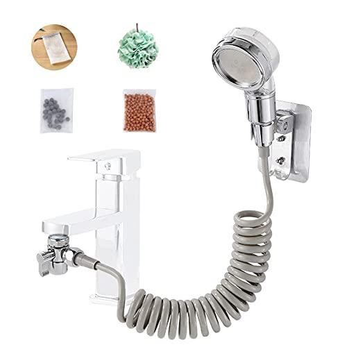 Juego de ducha de mano para lavabo, interruptor de control doble, grifo y cabezal de ducha de mano, utilizado para lavar el cabello, con adaptadores universales y accesorios de regalo