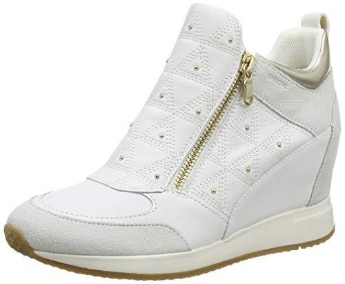 Geox Damen D NYDAME D Sneaker, Weiß (White/Off White C1352), 37 EU