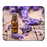 Mouse Pad Essential Herbal Oil and Lavender Flowers on Wooden Bottle Mousepad