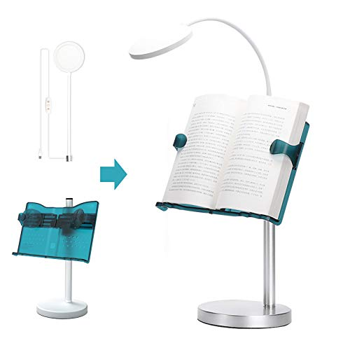 Book Stand Reading Rest Bookrest Height Angle Adjustable, Folding Book Holder with LED Light, Hands Free Document Holder for TextBooks, Recipes, Magazines, CookBooks and Music Books (Blue)
