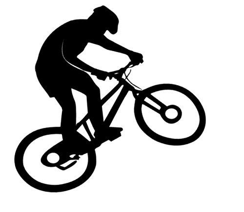 Mountainbiker Aufkleber Bike Radfahrer Aufkleber in Den Größen 20cm (135/1) (schwarz Glanz)