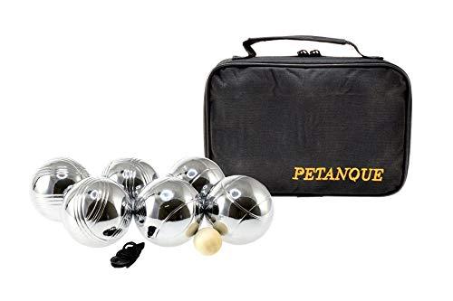 Sacoche de 6 boules de petanques chromees - jeu dadresse - plein air