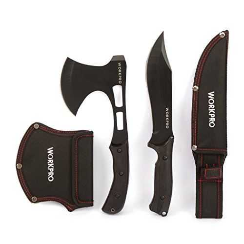 WORKPRO Axe and Fixed Blade Knife Combo Set Full Tang Wood Handle for Outdoor Camping Survival Hunting, Nylon Sheath Included