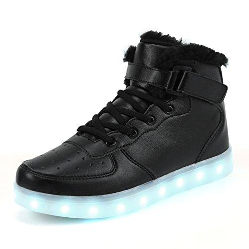 Dannto Kinder Leuchtende Blinkschuhe Turnschuhe Farbe USB Aufladen LED Licht Kinderschuhe Sportschuhe Hoch Oben Lässige Mode Sneakers für Jungen Mädchen(schwarz-B,39)