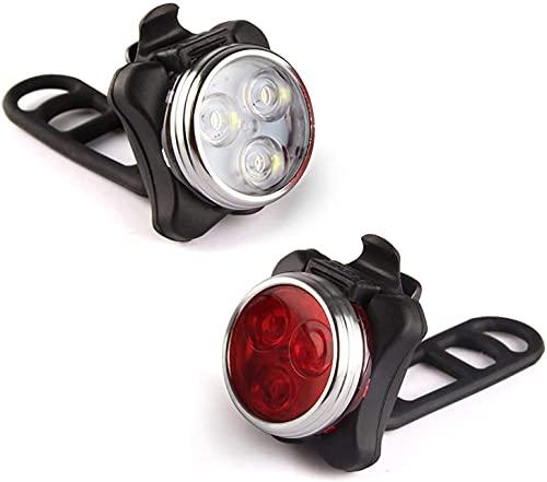 ThiEYE Set di luci per Bici Ricaricabili USB, Faro Anteriore Super Luminoso e Luce Posteriore per Bicicletta a LED, Batteria al Litio da 300 mAh, 4 opzioni di modalità Luce