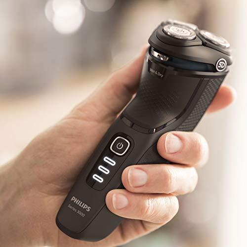 Philips Serie 3000 S3233/52 - Afeitadora eléctrica, cabezales pivotantes y flexibles 5D, cortapatillas desplegable para bigote y patillas, seco o húmedo, 60 min de afeitado, incluye funda de viaje