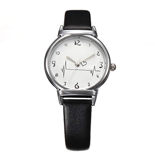 UINGKID Damen Armbanduhr Analog Quarz Einfache Gürteluhr Weibliche Modelle Kreative Studenten Heart-Feeling Quarz Uhr