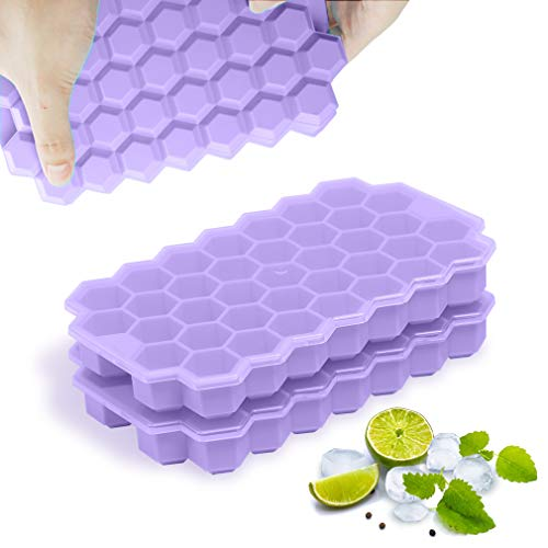 TINANA Ice Cube Trays 2 pack, Upgrade 74 Cavity Ice Cube Maker, Stackable Silicone Ice Trays Maker with Lid, Easy Release Hexagon Ice Cube Tray for Whiskey, Cocktail, Bourbon & Chilled Drinks (purple)