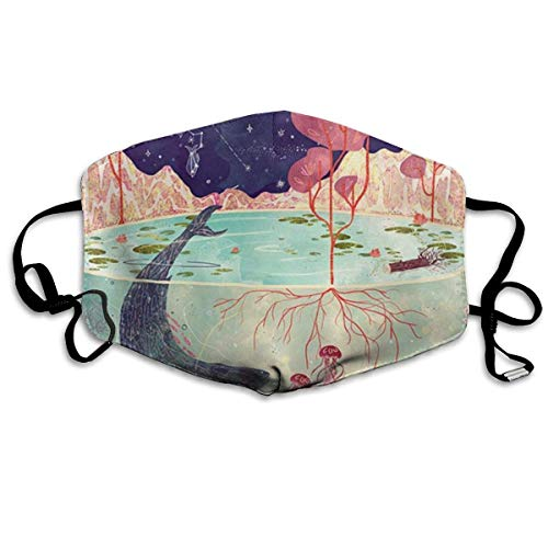 Mundbedeckung Unterwasserwelt Wal Und Himmel Sternbild Gesichts Schal Schule Outdoor Atmungsaktive Gesichtsbedeckung 11X18Cm Motorrad Einstellbare Aktivitäten Camping Unisex Mundab