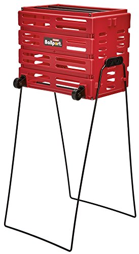 Tourna Ballport Deluxe Tennis Ball Hopper with Wheels - Holds 80 Balls, Red