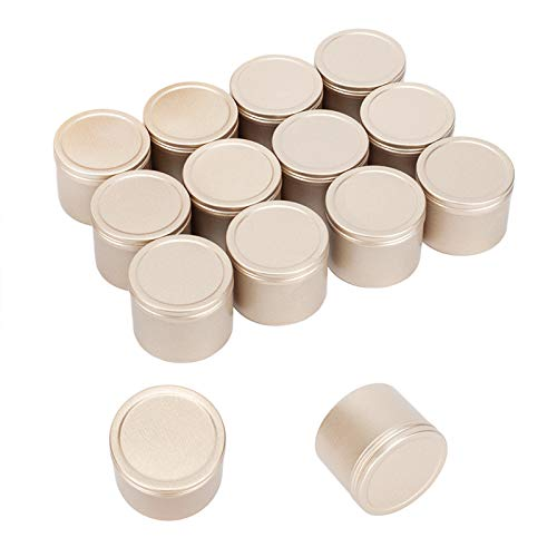 PH PandaHall 17oz Metal Tins 20 Pack Deep Solid Slip Top Round Tin Containers with Lids Metal Storage Tin Jars for Cosmetics Party Favors and Gifts Light Gold