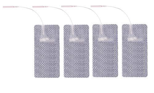 4 electrodos adhesivos rectangulares de 5 x 10 cm para electroestimulador con hilo conector de pin de 2 mm