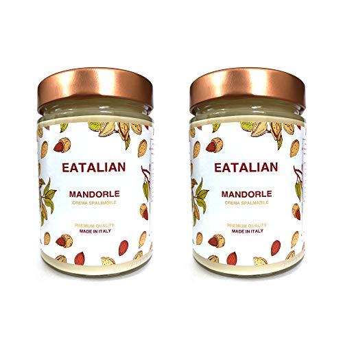 EATALIAN Crema de almendras para untar 2 x 300 gr, mantequilla de almendras y proteína siciliana, Made in Italy. Ideal para pan y para rellenar pasteles, sin gluten