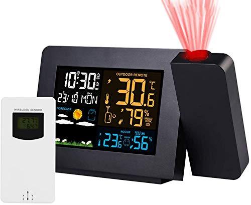 HPDOM Reloj Despertador De Proyección Proyector Digital Rel