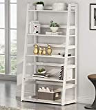Tribesigns 5-Tier Ladder Shelf, 5 Shelf Bookshelf Modern Bookcase Freestanding Leaning Shelf for Living Room, Home Office Decor (White)