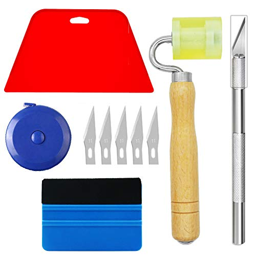 CARTINTS Wallpaper Smoothing Tool Kit Include Tape Measure, Red Squeegee, Rubber Hand Rollers, Craft Knife for Adhesive Paper Application Window Film Craft Vinyl