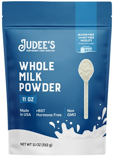 Judee's Whole Milk Powder 11oz - 100% Non-GMO, rBST Hormone-Free, Gluten-Free & Nut-Free - Pantry Staple, Baking Ready, Great for Travel, and Reconstituting - Made in USA