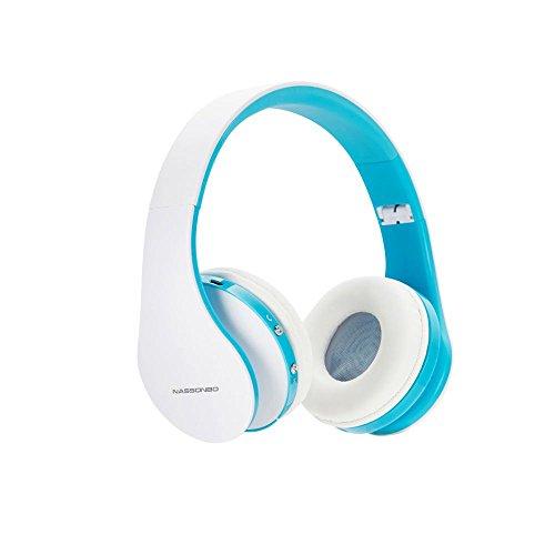 Casque sans fil Bluetooth plus NASSONBO-ear Casque léger avec microphone stéréo pour la diffusion de musique pour adultes enfants Radio FM MP3 MP4 PC portables tablettes (Blanc et bleu)