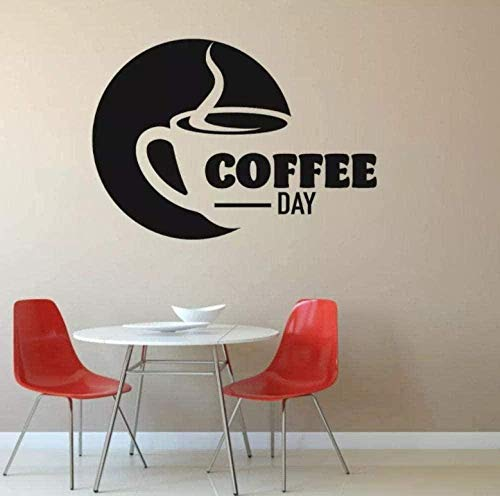 N-P Wall Stickers Decals Vinyl Decal Coffee Day Text Wall Sticker Cafe Coffee Shop Kitchen Wall Art Decoration 78X57cm