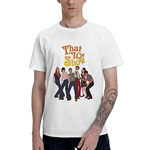 COOTHING That  70s Show Logo Mens Classic Fit Casual Printed Basic Crew Neck White Tshirts Costume